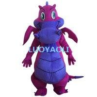 Professionale new big viola drago del costume della mascotte fancy dress formato adulto