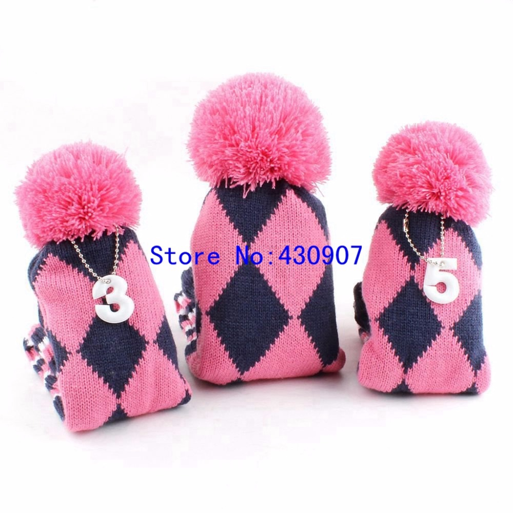 3PCS 1 3 5 Pom Pom Head Covers Knit Sock Navy Golf Club Cover ...