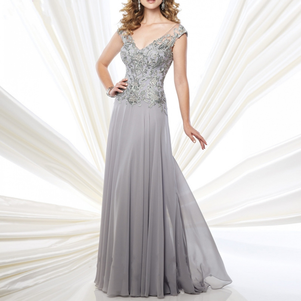 2015 gorgeous v neck evening dresses beads appliques light