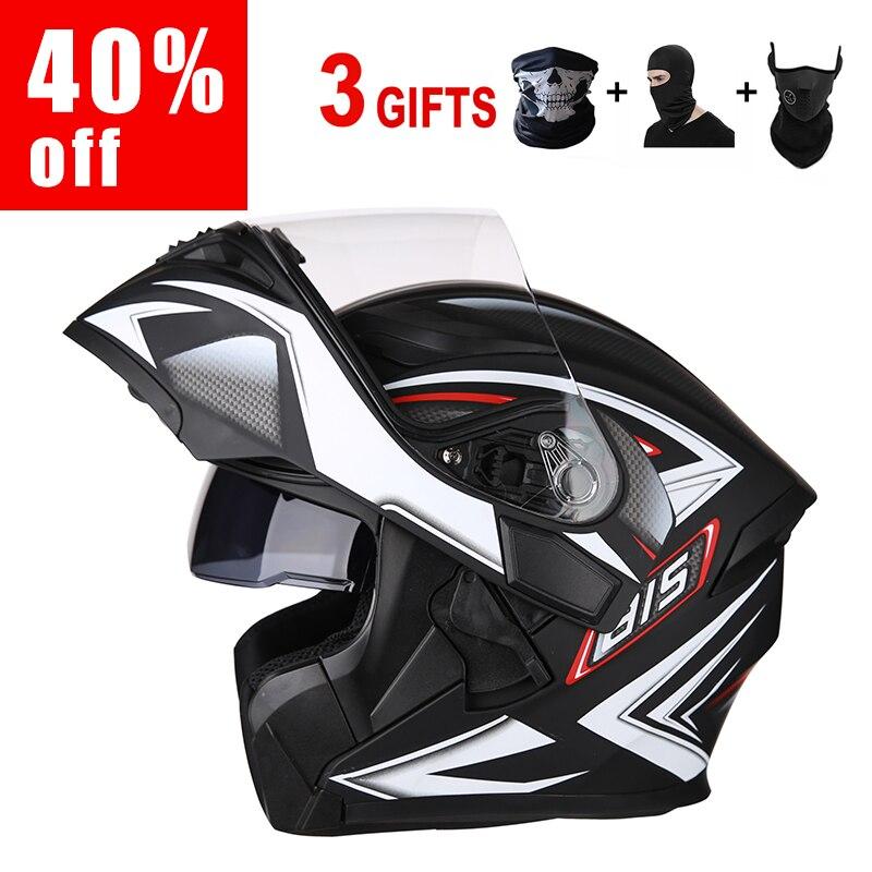 Casque moto casque intégral pour casques moto pour moto course AIS casques moto avec double lentille
