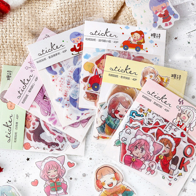 Office & School Supplies Hot Sale 40pcs/pack Girl Winter Christmas Life Expression Sticker Decoration Scrapbooking Sticker Diy Diary Stationery Stickers Gift Demand Exceeding Supply