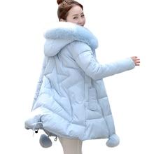 Women's Thick Warm Long Winter Jacket Women Parkas 2016 Faux Fur Collar Hooded Cotton Padded Winter Coat Female Manteau Femme