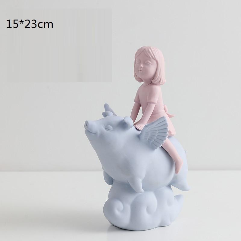 Корейский стиль милый облачная Свинья с оленем для девочек Статуи фигурка животного Скульптура Керамика Art & Настенная Декорация голова оле