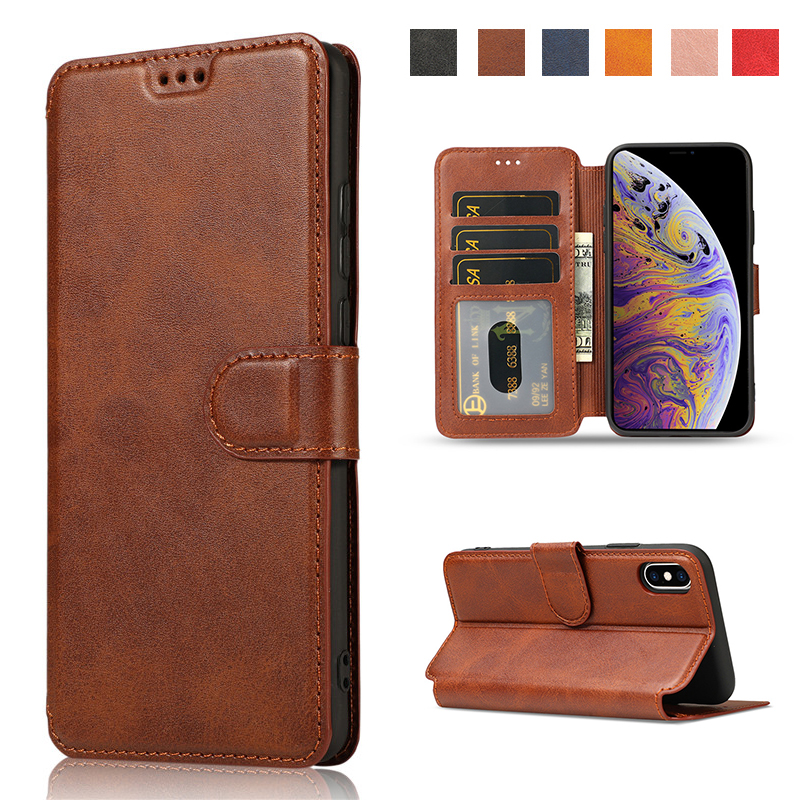 <font><b>Leather</b></font> <font><b>Case</b></font> For <font><b>iPhone</b></font> 11 Pro XS Max XR X Protection Cover For <font><b>iPhone</b></font> <font><b>8</b></font> 7 6 6s <font><b>Plus</b></font> <font><b>Case</b></font> 5 5S SE Flip Wallet Card Holder Coque image