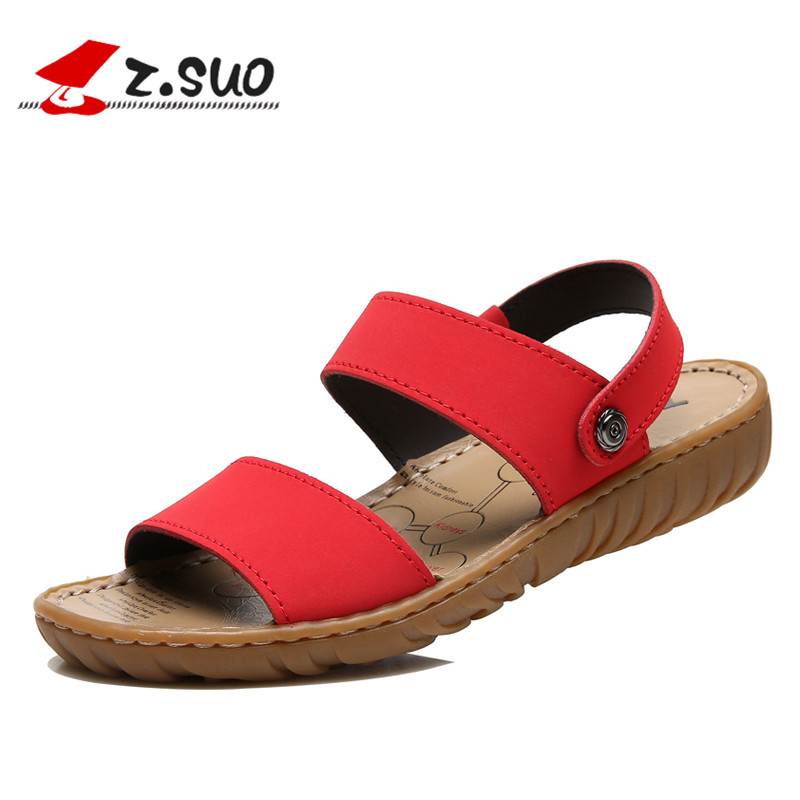 Classic Genuine Leather Sandals Women Summer Outdoor Leisure Flat Slippers Non-slip Women Shoes Summer 2018 ZSUO Brand Black Red classic leather sandals classic leather sandals women sandals summer sandals