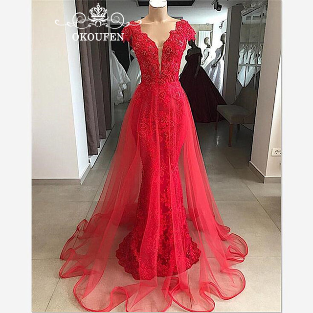 36a5182d22c Designer Red Lace Detachable Skirt Prom Dresses With Capped Sleeves 2019  Long Overskirts Mermaid Evening Dress Formal For Women
