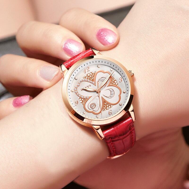 Top Brand Woman Watch Rose Gold Dress lady Leather Quartz Watch girl Watches Clock Creative Flowers relogio feminino Wrist watch