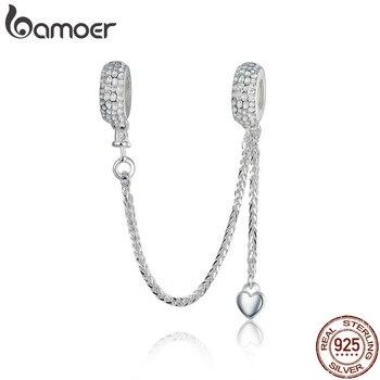 BAMOER, 925 пробы, серебряная, любовь, соединение, безопасность, цепь, шарм, подходит для браслета, в форме сердца, Стерлинговое серебро, ювелирные...