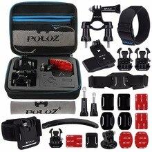 24 em 1 Bicicleta Montar Acessórios Combo Kits com Caso EVA para GoPro HERO6/5/5 Sessão/Sessão 4/4/3 +/3/2/1, Xiaoyi