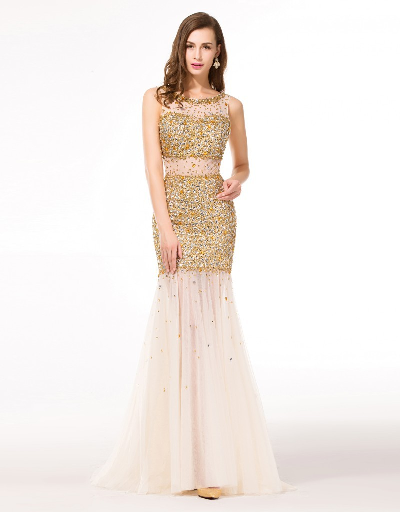 Popular Gold Beaded Evening Gown-Buy Cheap Gold Beaded Evening ...