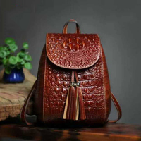 Maihui backpacks for teenage girls cowhide Crocodile Embossed Leather travel laptop backpack small fashion ladies school bags