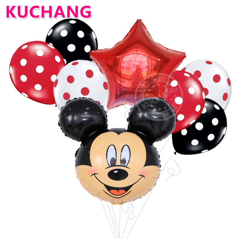 8pcs/lot Cartoon Minnie Mickey Mouse Head Foil Balloons Star Kids Happy Birthday Party Supplies Decoration Wave Point Latex Ball