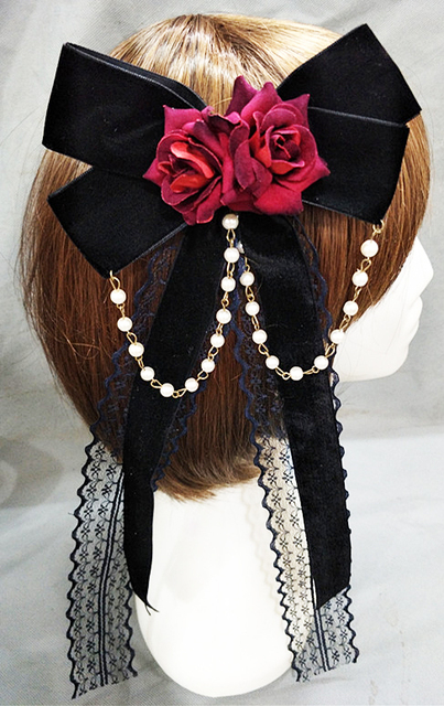 Lolita Girls Lace Gear Bowknot Hair Clip Sexy Gothic Black Satin Red Flower Headwear Gothic Hair Accessories