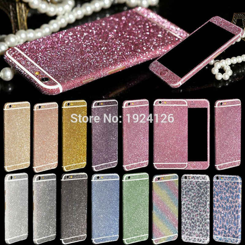 For iPhone XS Max XR Glitter Bling Front Back Sticker For iPhone X 8 5 5s c7a31671c062