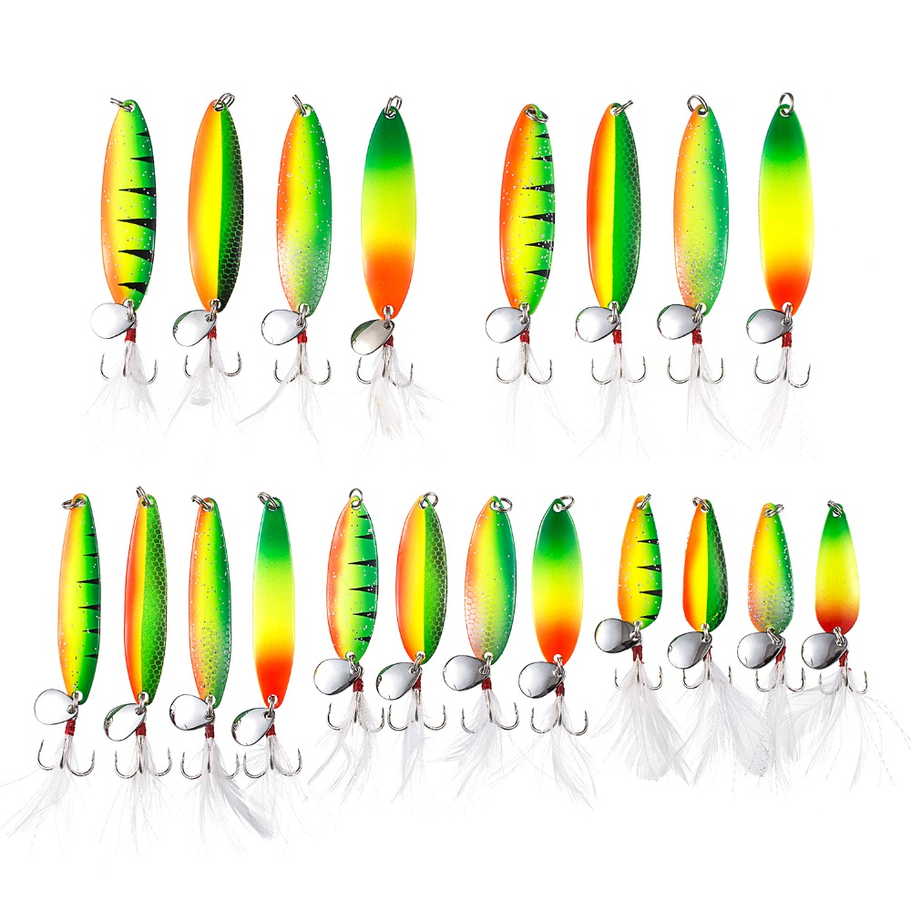 Bassdash Metal Fishing Spoons Saltwater Hard Spinners Casting Sinking Lures for Northern Pike Salmon Walleye and Bass 20 pcs