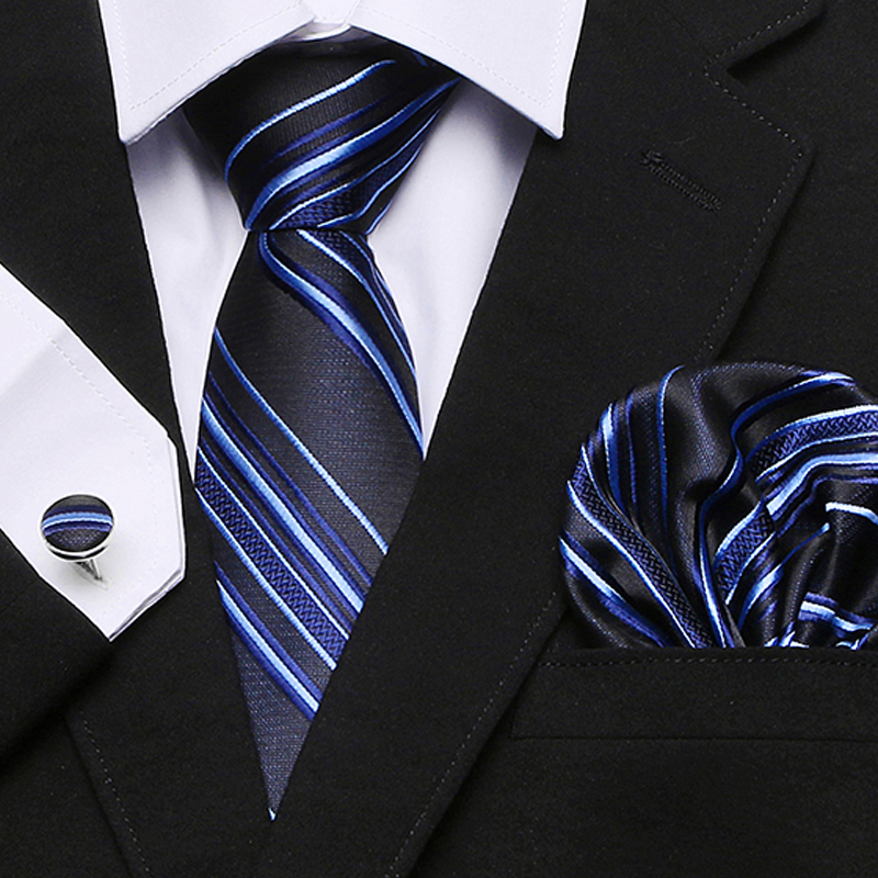 Fashion Pocket Square Classic Party Wedding striped 7.5cm Silk Wedding Mens Extra Long Tie XL Necktie Handkerchief Set