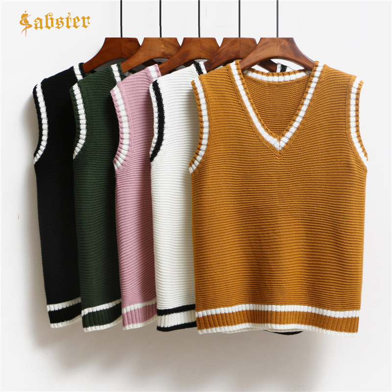 Casual New Fashion Women Autumn Spring Sweaters 2018 V-neck Sleeveless Solid Color Vests Sweaters Loose Pullover Tops Kz059