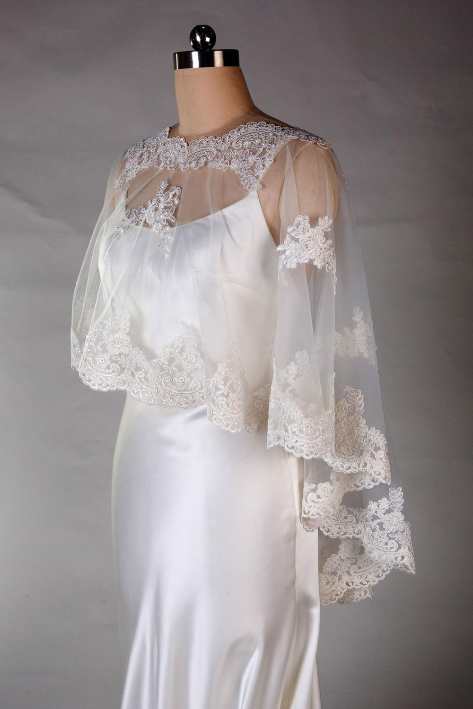 Elegant Lace Appliques Bridal Wraps white Wedding Cape Lace Applique Tulle Plus Size Bolero Jackets