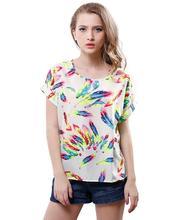 a0f9bcb48ec lollas 2018 New Cute Multicolor Chiffon Blouse Print O-neck summer Short  Sleeve Shirt top For Women ...