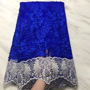 5Yards/pc Nice looking royal blue french net lace fabric with beads decoration african mesh lace embroidery for dress BN111-5