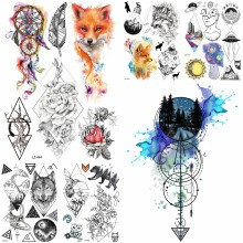 Black Diamond Geometry Owl Temporary Tattoo Sticker WOmen Fake Henna Waterproof Tattoo Decals 21*15CM Crystal Body Art ARm Tatoo(China)