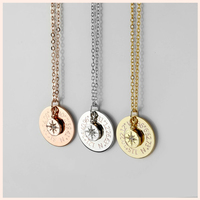 SG Personalized 925 silver Compass necklace special custom zircon star pendant necklace fashion jewelry for women free shipping