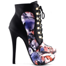 LF80831  Black/Purple Lace Up Stiletto Heel Gothic Ankle Bootie Pump