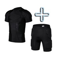 Men Runing Clothes Rugby Jersey + Shorts Crushproof Protective Clothes Short Sleeve Sports Anti Hurt Clothing Equipment