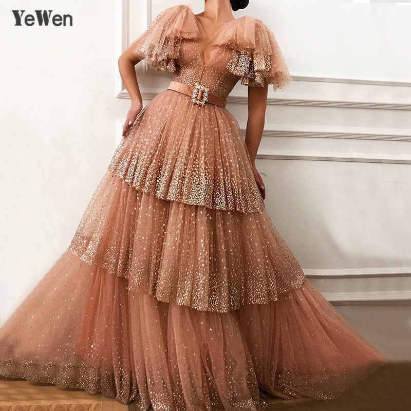 Dubai V Neck Sexy Sparkle Tulle Long Evening Dresses 2019 Blush Pink Beach Sequined Tiered Evening Gowns Short Sleeve YeWen