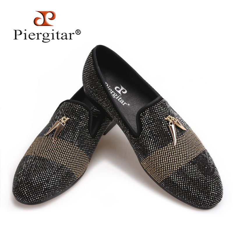 Piergitar 2018 new style Mixed Colors Rhinestone men shoes leather upper and insole Party and wedding Slip-on men's loafers rakesh kumar tiwari and rajendra prasad ojha conformation and stability of mixed dna triplex