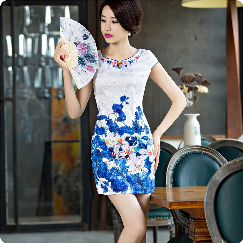 Aliexpress.com : Buy 2017 Ladies Sexy Slim Mini Cheongsam Qipao ...