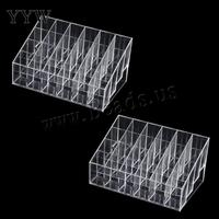 Fashion Jewelry Packaging 24 Trapezoid Clear Makeup Display Lipstick Stand Case Cosmetic Box Organizer Holder ON