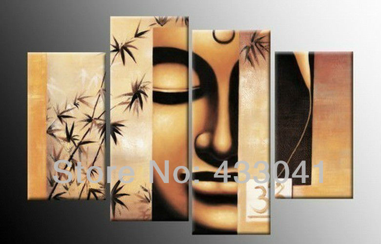 Handmade bamboo face oil painting buddha canvas art for Wall hanging painting designs