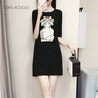 2018 Summer Cotton Cartoon O Neck women's dress for women female Women's clothing fashion girls Preppy Style Mini dress