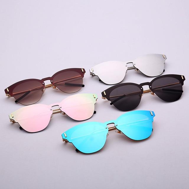 5a637acc8e 2017 Sin Montura de metal gafas de Sol Hombres Mujeres Primera Marca Gafas  Gafas De Sol