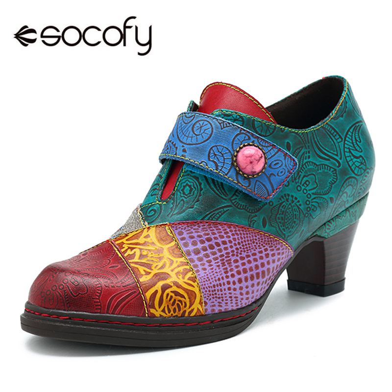 Socofy Vintage Classic Pumps Genuine Leather Shoes Women Bohemian Printed Hook Loop Block Heels Spring Fall Winter Shoes Zapatos