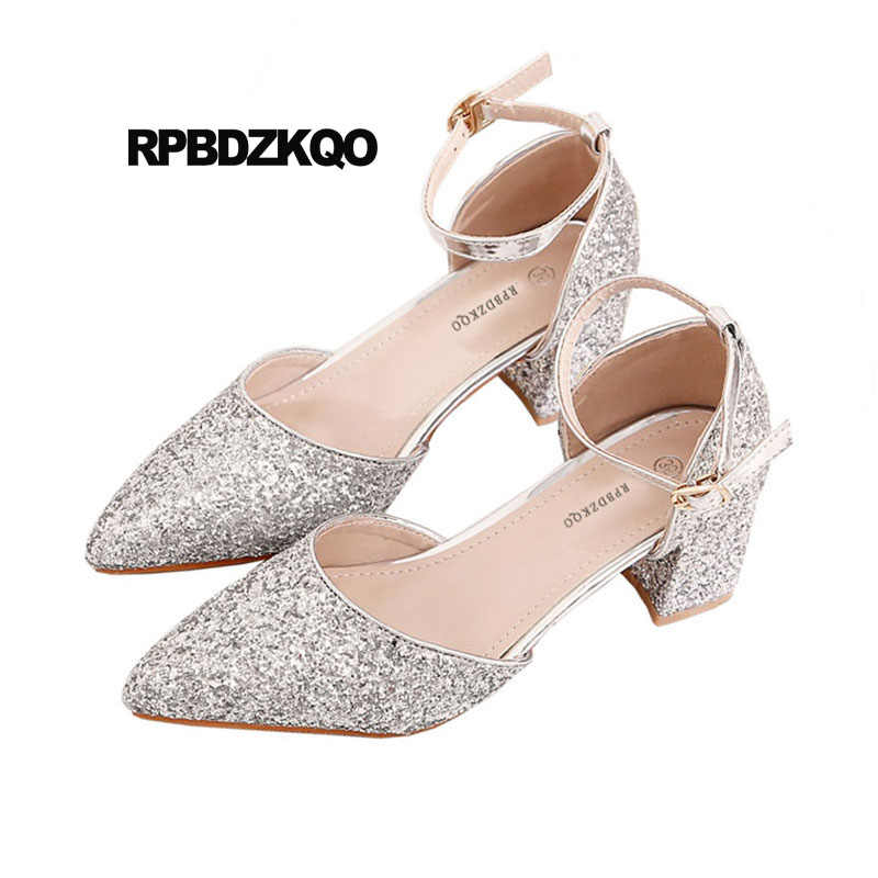 0c717acb318 ... medium heels sandals plus size ladies silver glitter pumps wedding 4 34  bling high 33 pointed