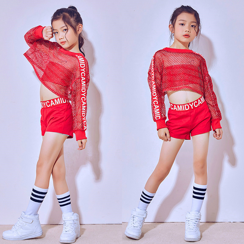 Children Red Jazz Dance Costumes Girls Glitter Fishnet Cover Top Stretch Shorts Dance Sets Hip Hop Modern Party Stage Outfits