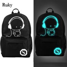 2016 nightlight fashion casual Men s backpack Anime Luminous teenagers Men women s Student Cartoon School