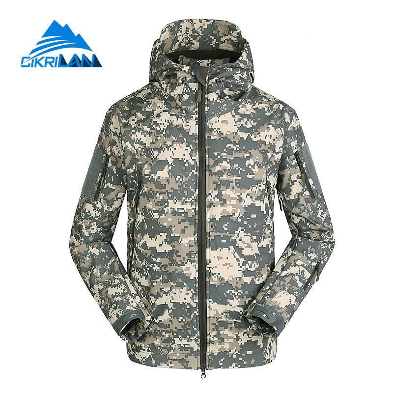 Mens Camo Water Resistant Hooded Tactical Outdoor Softshell Jacket Men Camping Hiking Climbnig Sport Coat Fleece Lined Jackets