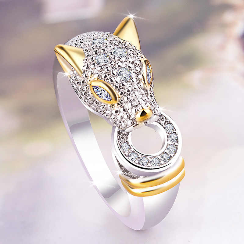 Punk Leopard Ring Zircon Gold and Silver Ring Women's Luxury Exaggerated Fashion Jewelry New Anniversary Gift jewelry