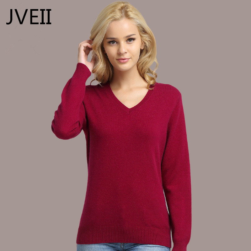 Spring Winter Wome Cashmere Sweater Fashion V-neck Knitting Autumn Women Pullovers Oversized Sweater Solid Color Female Sweater
