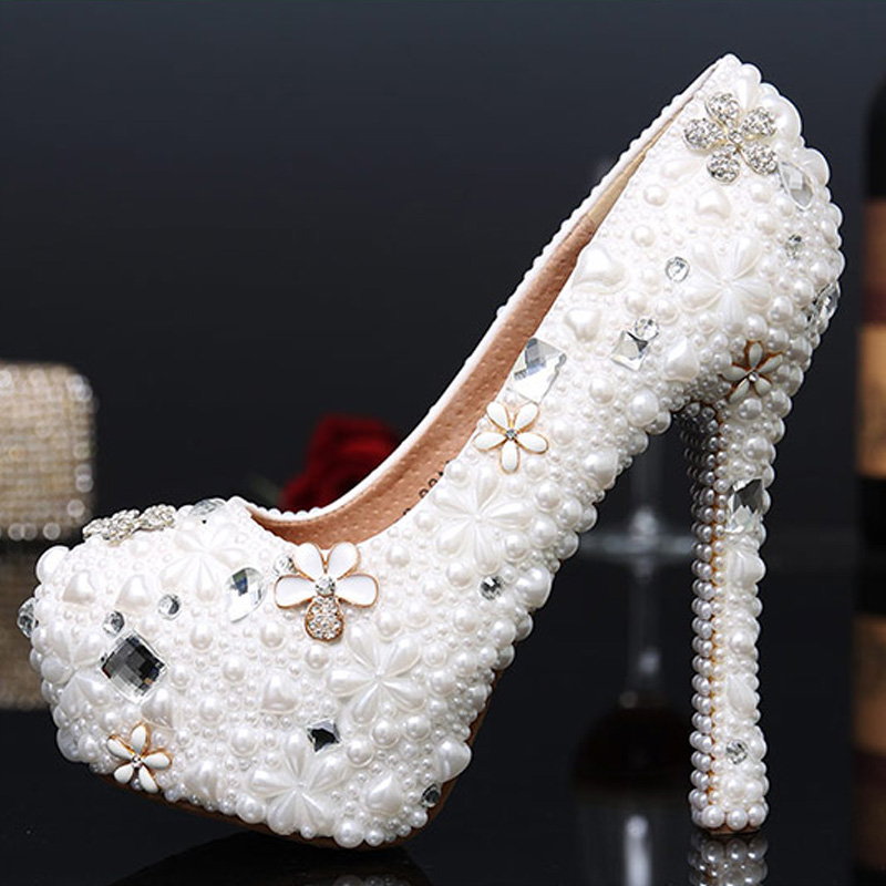 ФОТО Brand design white Women handmade sexy pumps 2017 women Pearl crystal platform high heels Wedding shoes for women Size 34-43