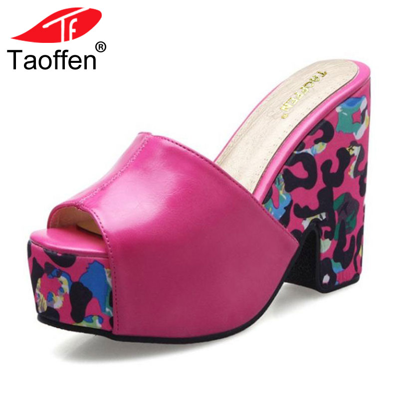 TAOFFEN Shoes Women Sandals Block Chunky High Wedge Heels Platform Summer Shoes Leopard Slip On Slippers Shoes Plus Size 33-43 taoffen women high platform shoes patent leather star lady casual fashion wedge footwear heels shoes size 33 48 p16184