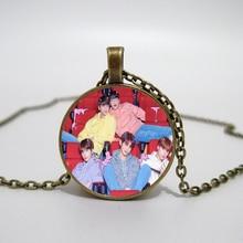 купить Korea TXT Glass Necklace men and women Necklace Jewelry Pendant Necklace DIY customized photos custom necklace по цене 36.47 рублей