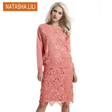 women's suits costumes for women with a skirt autumn winter 2 piece set women ladies lace hollow pink sweater  dress female slim