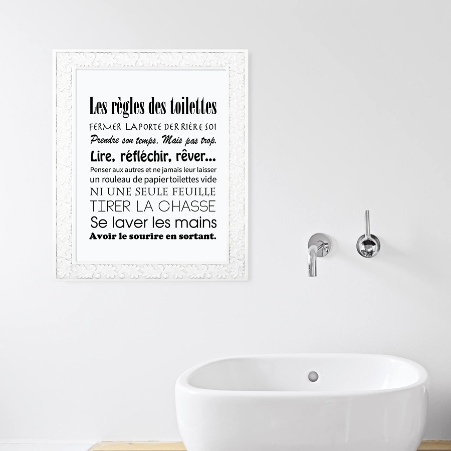 Bathroom Wall Art Decor French Toilet Rules Canvas Art Print Poster Home Bathroom Canvas Painting Poster France Wall Art Decor