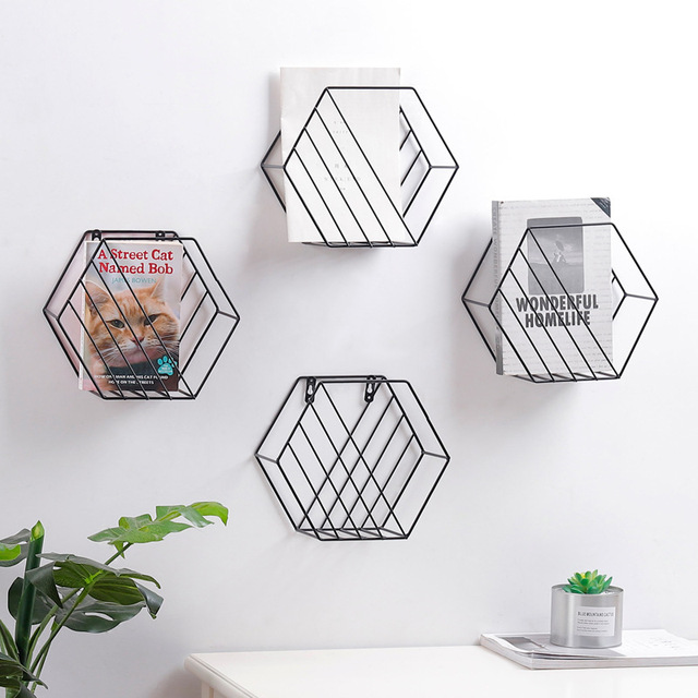 2018 Iron Storage Rack Wall Hanging Shelves Wall Mount Bookshelf Newspaper  Rack Nordic Home Wall Decor