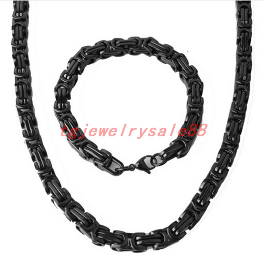 Hip-hop Rock Mens Classic Black Tone Stainless teel Byzantine Box Chain Necklace&Bracelet Sets Jewery Free Custom Size 8mm Wide