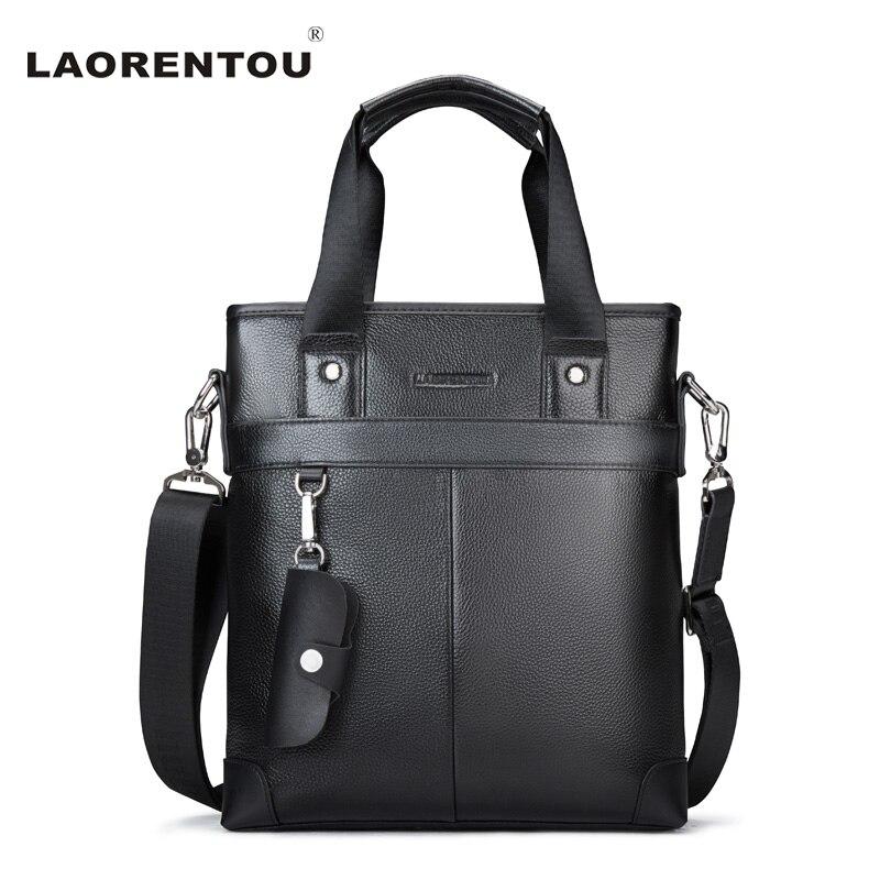 ФОТО Laorentou Vintage Men's Bag Made Of Genuine Leather Crossbody Bag Casual 100% Cow Leather Mens Messenger Bag For Business N51